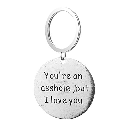 """Sevenfly Lover Couple Key Rings Letter""""You're an Asshole but I Love You"""" Round Lettering Keychain for Gifts"""