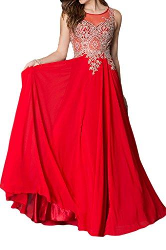 sunvary elegante appliques gasa Jewel cuello fiesta vestidos novia para 2016Mujeres Rosso
