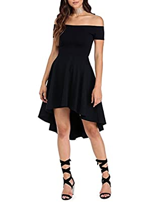 HUSKARY Women Off The Shoulder Sleeve High Low Flared Swing Cocktail Skater Dress