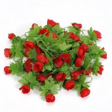 High Quality 2m Artificial Flower Rose Leaf Vine Ivy Garland - Pink Cesis SKUTM0818945 - Pink