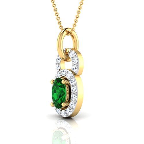 Or blanc 14K 0,1ct tw Round-cut-diamond (IJ | SI) et pendentif Émeraude