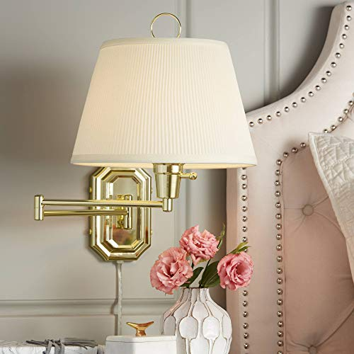 Fredericks Brass with Ivory Pleated Shade Plug-in Wall Lamp - Barnes and Ivy