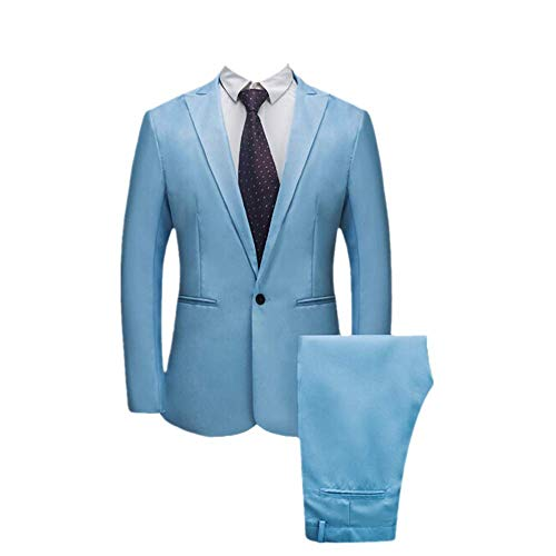 Realdo Mens 2 Pieces Suit,Mens Slim Fit One Button Business Wedding Banquet Blazer & Trousers Sky Blue