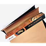 AUX2GO BBQ Grill & Oven Baking Mats | Premium Non-Stick Cookie Sheet and Best Grilling Accessory. Durable | Reusable Easy-Clean | Set of 2 (Black, Copper)
