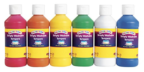 Colorations Simply Washable Tempera 8 oz. - Set of 6 (Item # SWTPACK)