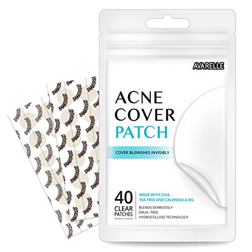 Avarelle Acne Absorbing Cover Patch Hydrocolloid, Tea Tree, Calendula Oil, CICA (40 ROUND PATCHES)
