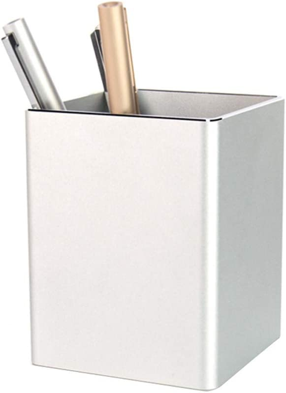 Aluminum Pen Pencil Cup Holder with Non-Slip Mat Concise Desktop Stationery Organizer for Office, Home, School (Silver-Square)