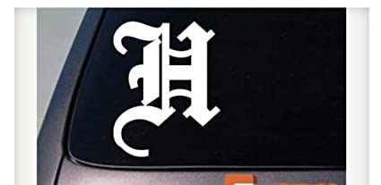 amazon com letter h 6 sticker decal old english truck car window