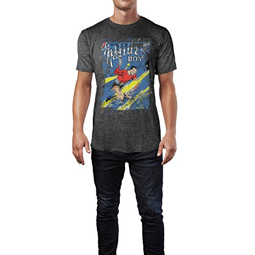 SINUS ART® Nature Boy Herren T-Shirts stilvolles dunkelgraues Cooles Fun Shirt mit tollen Aufdruck
