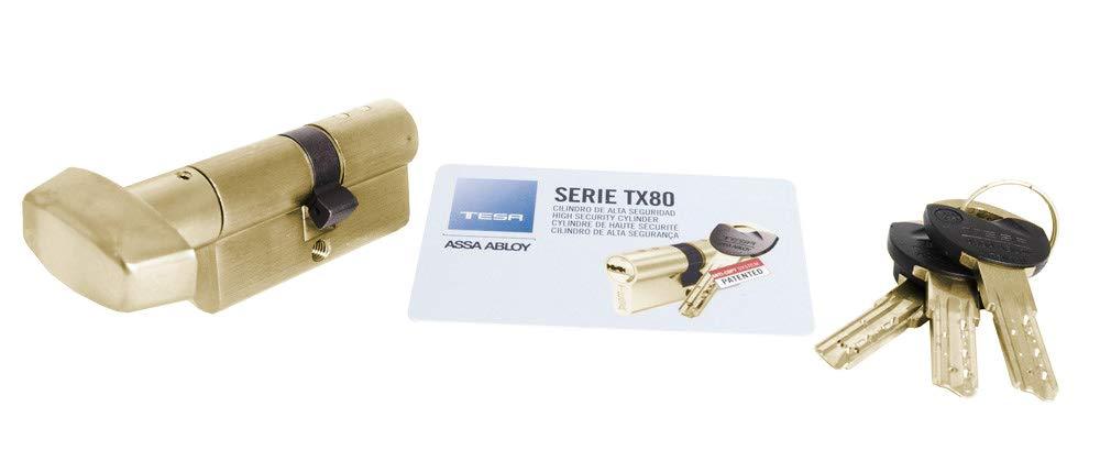 Leva Larga Llave Llave Cilindro de Alta Seguridad TX853050N Tesa Assa Abloy Niquelado 30 x 50 mm Doble Embrague TX80