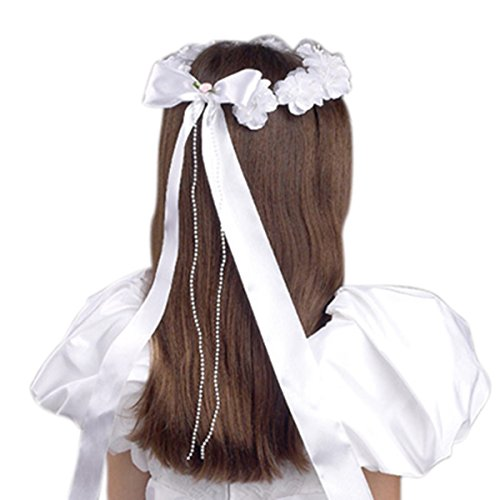 Girls First Communion White Floral Beaded Tiara with Satin Bow, 16 -