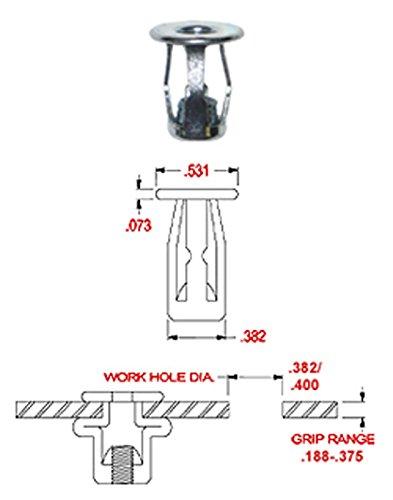 Steel Threaded Insert NUT Pack of 10 ZINC Finish 10-24 X .188-375 Grip Range