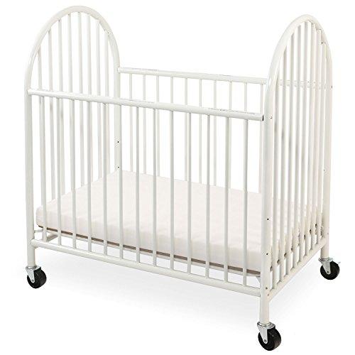 Infant Metal Crib - LA Baby Arched Metal Compact Crib White