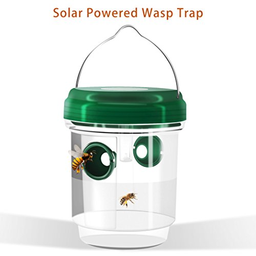 TAKUSKY Wasp Trap Catcher, Wasp Repellent,Perfect Outdoor Solar Powered Trap with Ultraviolet LED Light for Yellow Jackets, Bees, Wasps, Hornets, Bugs and More. (Solar Lights Water Powered With Feature)