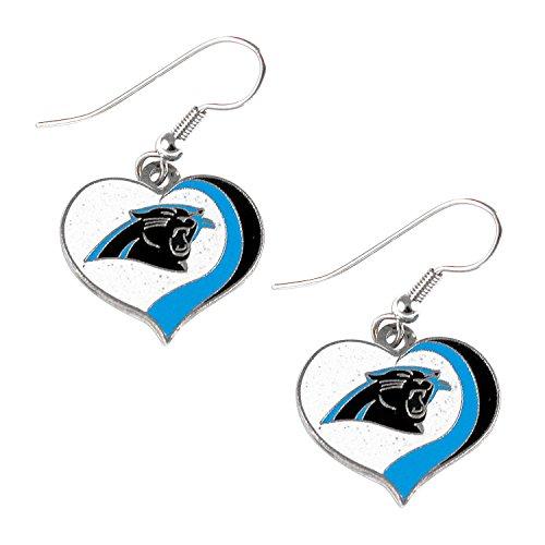 aminco NFL Carolina Panthers Women's Sports Team Logo Swirl Heart Glitter Earring Set, One Size, Multicolor ()