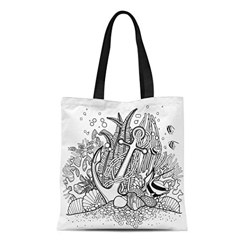 Semtomn Cotton Canvas Tote Bag Anchor and Coral Reef Drawn in Line Ocean Fish Reusable Shoulder Grocery Shopping Bags Handbag Printed]()