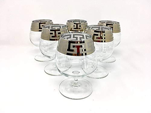 (CRYSTAL GLASS SNIFTER GLASSES 13oz./400ml. PLATINUM PLATED SET OF 6 COGNAC BRANDY ARMAGNAC CALVADOS WHISKEY GLASSES ENGRAVED VINTAGE GREEK DESIGN CLASSIC STEM GOBLETS)
