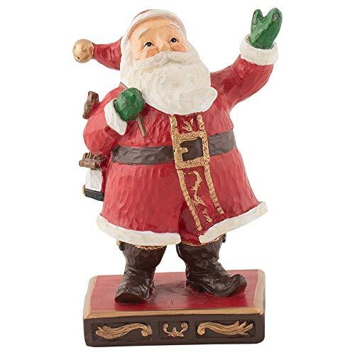 (Midwest-CBK Waving Santa Pedestal Festive Red 6 x 4 Resin Stone Christmas Holiday)
