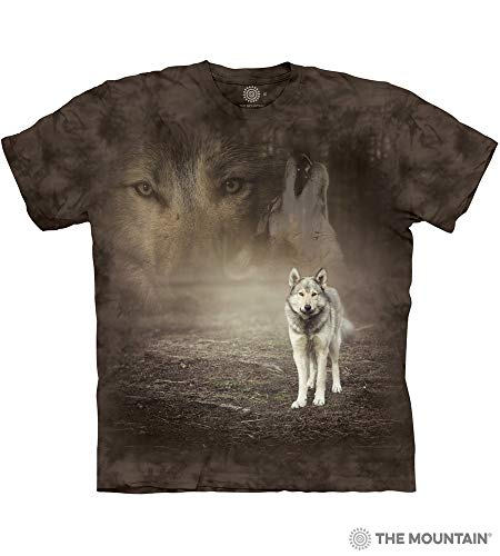 (The Mountain Grey Wolf Portrait Adult T-Shirt, Grey,)