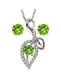 "2.00 Ct Round Green Peridot 925 Sterling Silver Pendant and Earrings 18"" Chain"