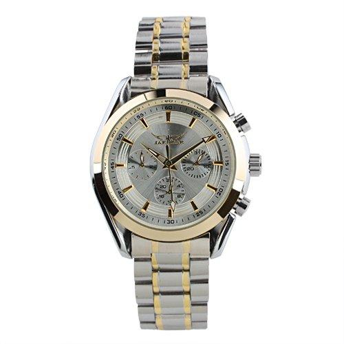 Cuerda Automática Caja Oro Reloj Esfera Blanca Reloj Acero Inoxidable Hombre Lujo Los Hombres: Amazon.es: Relojes