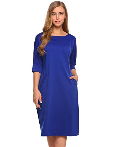Women Casual O Neck Plain Simple Loose Half Sleeve T-Shirt Dress With Pockets Simple Half Sleeve