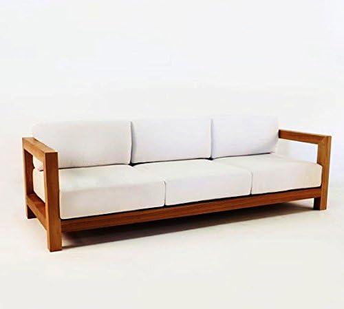 Casa Padrino Jardín 3 plazas sofá rústico Boston Crema Blanco/marrón 200 x 40 x H70 cm - Madera Maciza de Roble - Muebles de Madera sólida: Amazon.es: Hogar
