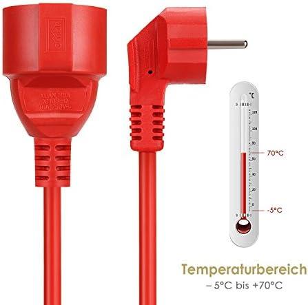 SIMBR C/âble rallonge secteur IP20/H05VV grande qualit/é 10/m 15/m 20/m 30/m Rouge