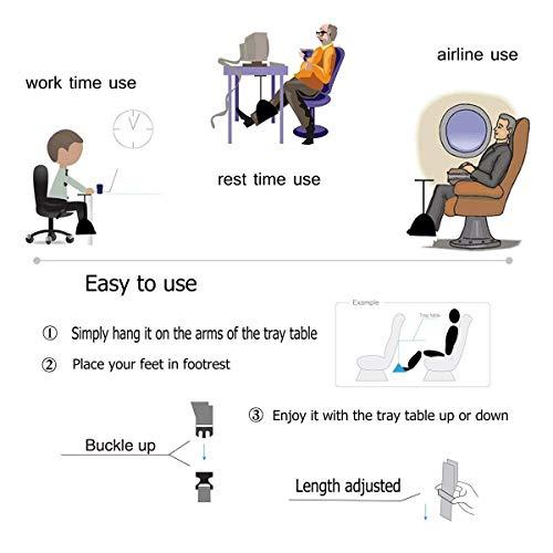 PRAVETTE Foot Rest,Travel Footrest Airplane Leg Rest Flight Foot Hammock Carry-on Travel Pillow Under Desk Accessories by PRAVETTE (Image #3)
