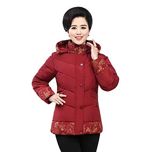 Abrigo Corto Manga Larga Outwear Espesar Bozevon Invierno Mujer Chaqueta Calentar Chaquetas Acolchado Rojo 5SXwxwqHEa