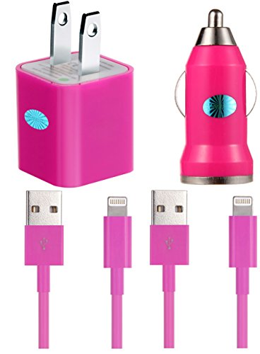 Bundle 4 in 1 Essential Home and Car Charger Kit for iPhone 5 5C 5S, iPhone 6 6 Plus, iPad 3 4, iPad Mini, iPod Touch 5/Nano 7, 8 pin to USB -- Includes : 2 X 3ft Lightning Cable, 1 X Car charger, 1 X Wall charger(Hot Pink)