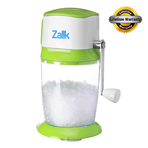 Ice Crusher Grinder Shaver Manual Ice Chipper For Fine Or Coarse Pieces, Strongest Heaviest Duty With Large 50 OZ Bucket - 430 Stainless Steel Blade - Essential Kitchen Tool - Bar Accessory - by Zalik