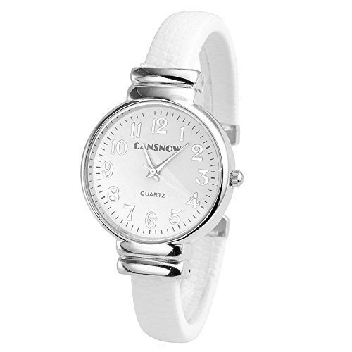 Top Plaza Women Casual Chic Simple Bangle Cuff Bracelet Dress Quartz Watch 6.5'',Thanksgiving Christmas Gift,White (Watch Quartz Bracelet Bangle)