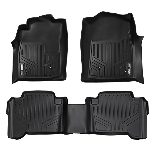Transmission Skid Guard - SMARTLINER Floor Mats 2 Row Liner Set Black for 2005-2011 Toyota Tacoma Double Cab (No Manuals)