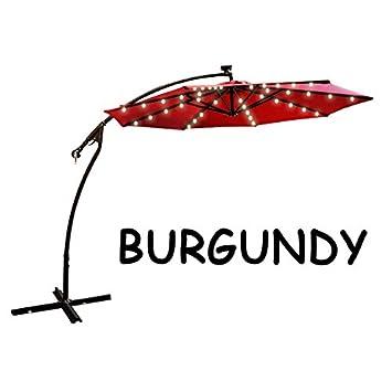 9u0027 CANTILEVER SOLAR POWERED 40 LED LIGHT PATIO UMBRELLA OUTDOOR GARDEN  SUNSHADE BURGUNDY