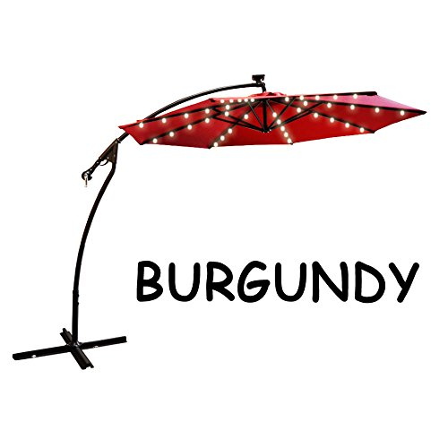 9' CANTILEVER SOLAR POWERED 40 LED LIGHT PATIO UMBRELLA OUTDOOR GARDEN SUNSHADE-BURGUNDY
