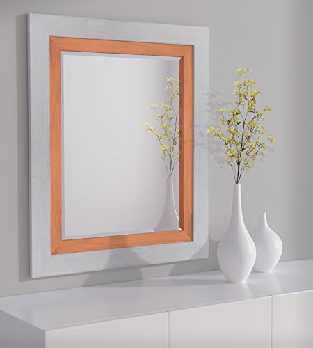LND Reflections Framed Beveled Mirror – 30″x36″ or 32″x44″ – 12 Colors (32″ x 44″, Marshmallow White/Burnt Orange) For Sale