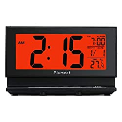 Plumeet Upgrade Version Digital Alarm Clock with Auto-Night Light & Temperature, Snooze, Large LCD Numbers, Easy to Set, Battery Operated Only (Black)