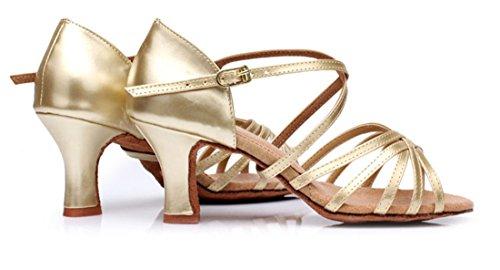 Tda Dames Klassiek Comfort Enkelband Wijd Uitlopende Hak Satijn Salsa Tango Samba Latin Schoenen 7cm Goud
