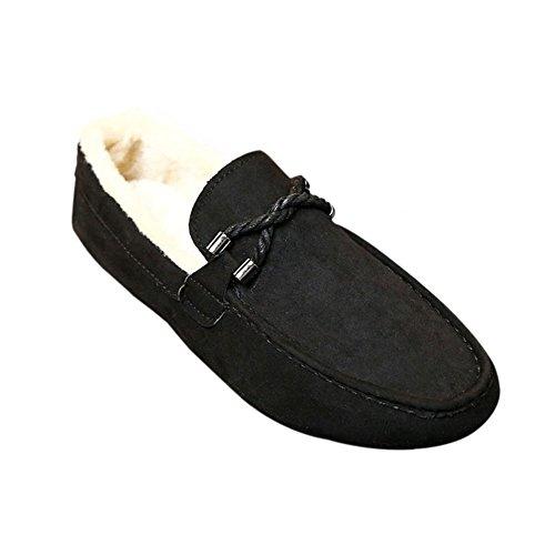 Hzjundasi Hombres Mocasines de ante de invierno Mocasines planos con suela de goma Zapatos bajos Zapatos de piel Negro