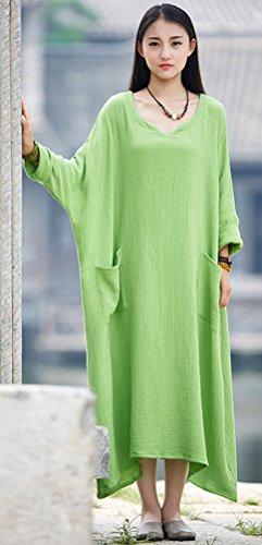Delle Donne 1 Con Manica Lungo A Casuale Lino Verde Stile Pipistrello In Soojun Cotone Abito XcYSR