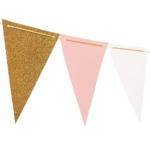 Ling's moment 10 Feet Vintage Style Pennant Banner (Plus Size), Paper Triangle Flags Bunting for Wedding, Baby Shower, Event & Party Supplies, 15pcs Flags(Gold Glitter+White+Pink) (Pennant Valentine)