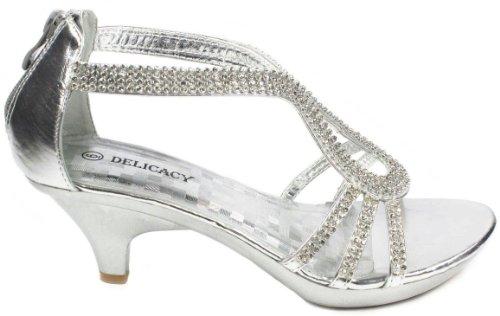 JJF Shoes A36 Silver Classy Rhinestone Angle Strap Evening Dress Low Heel Sandals-7.5