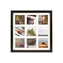BorderTrends Echo Square Multi Opening Collage Photo Frame for 4x4-Inch Photos, Espresso Brown