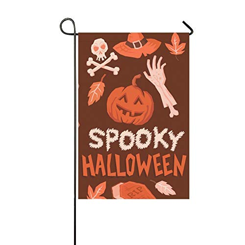 HGDGF Variety Demonstration Flag Game Flag,Happy Halloween Pumpkin Skull Garden Flag 12''x18'' (Without Flagpole),Eco-Friendly Outdoor Lawn Decorations -