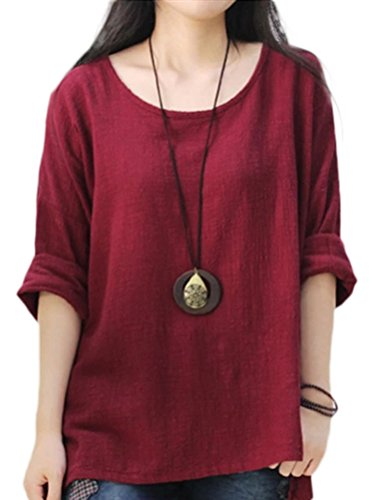 Soojun Women's Casual Loose Long Sleeve Round Collar Cotton Linen Shirt Blouse Tops, Color WineRed, X-Large from Soojun