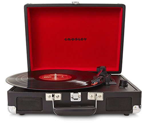 Crosley CR8005A-BK Cruiser Portable 3-Speed Turntable, Black (Certified Refurbished)
