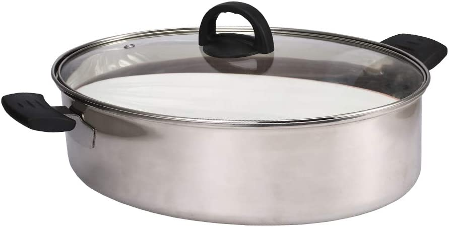 8Qt Stainless Steel Fish Steamer,Pasta Pot/Stockpot for Steaming Fish, Boiling Soup- Multi-Use Oval Roasting Cookware & Hotpot with Rack, Ceramic Pan Black