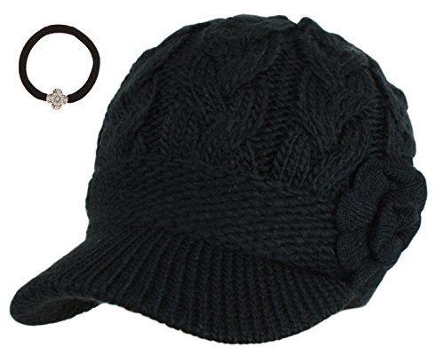 J-Fashion Womens Cable Knitted Double Layer Visor Beanie Hats with Hair Tie