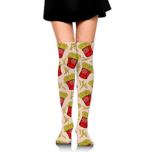 ZHONGJIAN Unisex Knee High Long Socks French Fires With Red Paper Boxes Potatos Fries Before Guys School Uniform High Long Stockings Length 65cm (14 French Red Rubber)